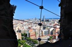 Panorama van de Kathedraal van La Sagrada Familia Barcelona, Spanje stock afbeeldingen