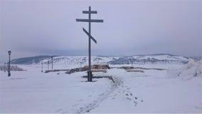 Panorama van de kust van het eiland Sviyazhsk op het ijs in de winter Sviyazhskdorp, Republiek Tatarstan, Rusland stock foto's