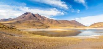 Panorama van de Lagune en de Vulkaan van Miniques - Atacama-Woestijn, Chili stock fotografie
