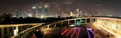 Panorama van de Mening van de Nacht van de Stad van Singapore Royalty-vrije Stock Foto's