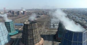 Panorama van de metallurgische installatie lucht stock footage