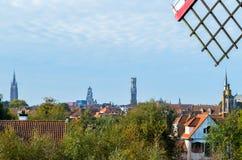 Panorama van de middeleeuwse stad van Brugge in noordelijk België royalty-vrije stock foto