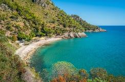 Panorama van de mooie Gaeta-kustlijn, provincie van Latina, Lazio, centraal Italië stock afbeeldingen