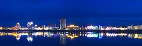 Panorama van de nachtstad in neonlichten Stock Foto