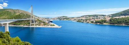Panorama van in de oude kuststad van Dubrovnik Stock Foto