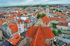 Panorama van de Oude Stadsarchitectuur van München, Beieren, Duitsland Royalty-vrije Stock Fotografie