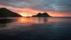 Panorama van de overzeese baai vroeg in de ochtend Royalty-vrije Stock Foto