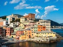 Panorama van de prachtige Italiaanse stad van Genua royalty-vrije stock foto's