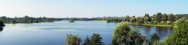 Panorama van de rivier Muhavets Royalty-vrije Stock Fotografie