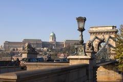 Panorama van de Rivier van Buda Castle en van de Ketting Stock Foto's