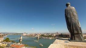 Panorama van de rivier van Donau in centrum van Boedapest Royalty-vrije Stock Fotografie