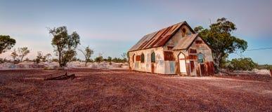 Panorama van de Roestige oude kerk bij Bliksem Ridge Australia royalty-vrije stock afbeeldingen