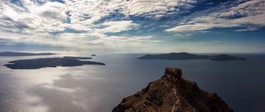 Panorama van de Santorini-vulkaan Royalty-vrije Stock Afbeeldingen