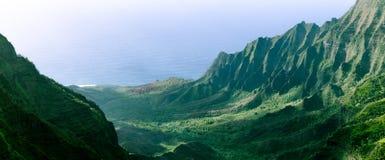 Panorama van de scherpe klippen in Kalalau-Vallei, Kauai, Hawaï stock afbeelding