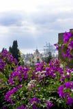 Panorama van de Spaanse stad van Malaga Mooie Mening Vesting Alcazaba DE Almeria Roze stock foto