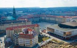 Panorama van de stad van Dresden van lutheran kerk, Duitsland royalty-vrije stock fotografie