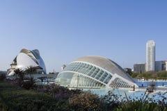 Panorama van de stad van kunsten en wetenschappen in Valencia royalty-vrije stock foto's