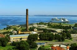 Panorama van de stad met de overzeese kust Royalty-vrije Stock Fotografie