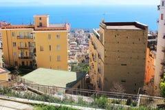 Panorama van de stad van Napoli, Italië Stock Foto's
