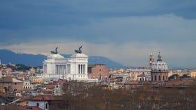Panorama van de stad van Rome in kant van Capitoline-Heuvel stock videobeelden