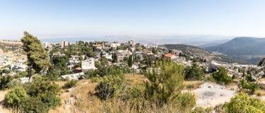 Panorama van de stad Safed Zefat, Tsfat en het Overzees van Galilee in noordelijk Israël stock afbeelding