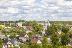 Panorama van de stad van Torzhok stock fotografie