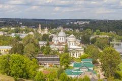 Panorama van de stad van Torzhok royalty-vrije stock foto