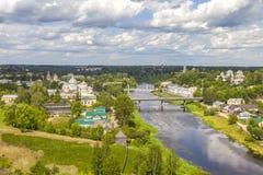 Panorama van de stad van Torzhok stock afbeeldingen