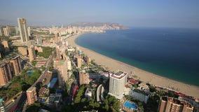 Panorama van de stad van Benidorm in Alicante, Spanje stock footage