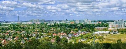 Panorama van de stad van Berlijn op een de zomerdag Stock Foto