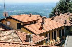 Panorama van de stad van Como over het Meer Como, Italië Stock Foto