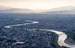 Panorama van de stad van Gifu, Japan Stock Fotografie