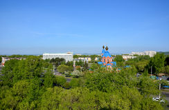 Panorama van de stad van komsomolsk-op-Amur, Rusland Stock Afbeeldingen