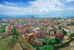 Panorama van de stad van Korfu Stock Afbeelding