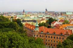 Panorama van de stad van Krakau Stock Afbeeldingen