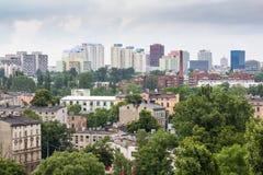 Panorama van de stad van Lodz in Polen Stock Foto's