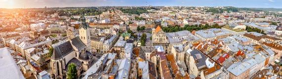 Panorama van de stad van Lviv Stock Foto's