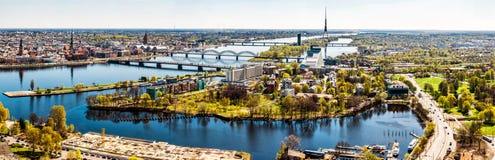 Panorama van de stad van Riga royalty-vrije stock afbeelding