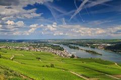 Panorama van de stad van Ruedesheim vanuit gezichtspunt Niederwalddenk stock fotografie