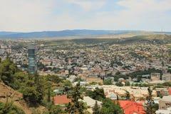 Panorama van de stad van Tbilisi, Georgië Stock Afbeelding