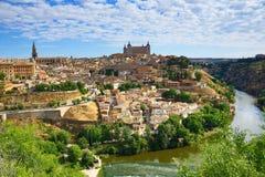 Panorama van de stad van Toledo, Spanje Stock Foto's
