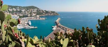 Panorama van de stadshaven van Nice, Frankrijk. Stock Foto