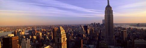 Panorama van de Stadshorizon van New York met Empire State Building, Manhattan, NY stock fotografie