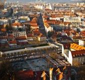 Panorama van de stadsmarkt van Ljubljana Stock Afbeeldingen