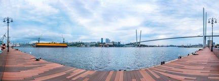 Panorama van de Tsesarevich-kade van Vladivostok Royalty-vrije Stock Foto's