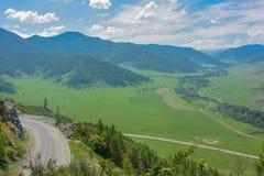 Panorama van de vallei in de Altai-Bergen Royalty-vrije Stock Fotografie