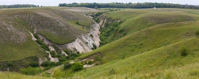 Panorama van de vernietiging van de vruchtbare grondlaag Het ravijn wordt gevormd door regenwater royalty-vrije stock foto