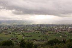 Panorama van de vlakte van Assisi, Italië Stock Afbeelding