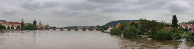 Panorama van de vloed 2013 van Praag Stock Afbeelding