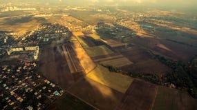 Panorama van de voorstad van Kiev van hierboven Lucht Mening stock fotografie
